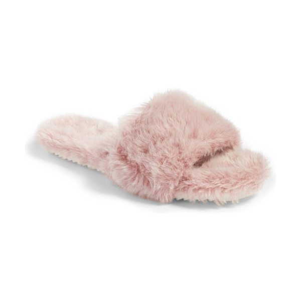 JOSHUA SANDERS faux fur slide sandal - Ultraplush faux fur brings stay-in-your-pajamas-all-day...