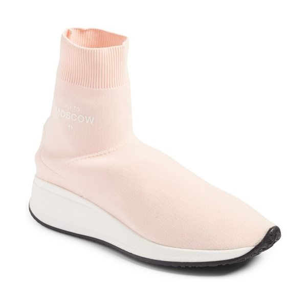 JOSHUA SANDERS fly to high top sock sneaker in pink - A stretchy sock upper brings breathable texture to a...
