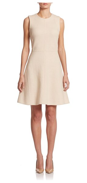 Josie Natori Cotton-blend fit-&-flare dress in ecru - Crafted from a textured gauze fabric with...