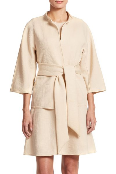 JOSIE NATORI Cropped mandarin collar jacket in ecru - A bonded knit jacket rendered in a belted, open-front...