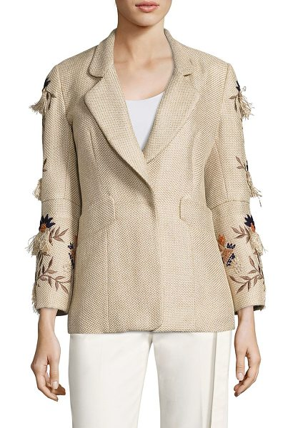 Josie Natori multicolor embroidered jacket in tan - Multicolored embroidery uplifts this textured jacket....