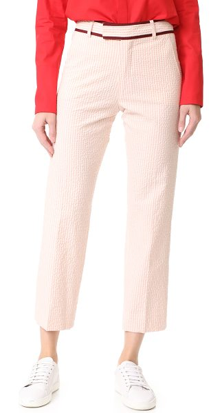 JOUR/NE seersucker trousers in baby pink - Two-tone stripes accent these textured JOUR/NE pants,...