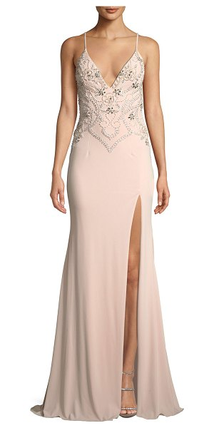 """Jovani Beaded Plunge-Neck Crepe Gown Dress w/ High Slit in blush - Jovani crepe gown with beading. Approx. 48""""L from waist..."""