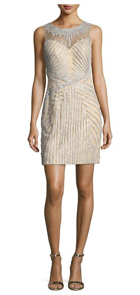 Jovani Beaded Strapless Illusion Cocktail Dress in silver nude - EXCLUSIVELY AT NEIMAN MARCUS Jovani beaded cocktail...