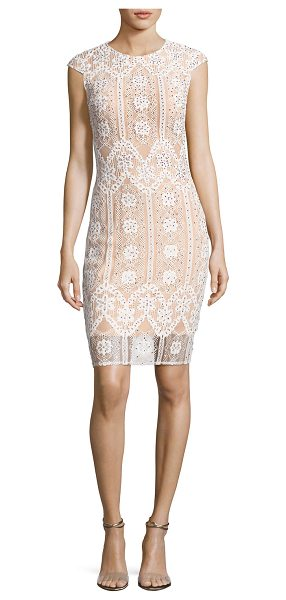 Jovani Cap-Sleeve Sequined Lace Cocktail Dress in white-nude - Jovani cocktail dress in floral lace with sequin...