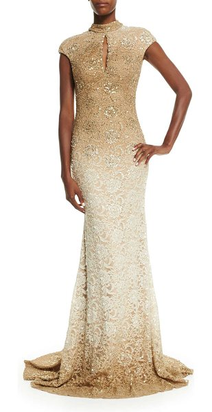 Jovani Cap-sleeve sequined lace gown in gold - Jovani sequined ombre lace gown. Approx. measurements:...