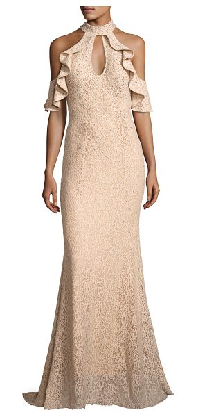 Jovani Cold-Shoulder Embellished Lace Evening Gown in champagne - Jovani evening gown in lace with sequin embellishing....