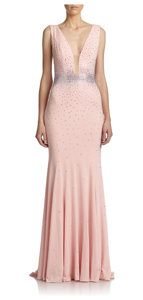 Jovani Crystal-embellished gown in lightpink - Sparkling crystal embellishment elevates this stunning...