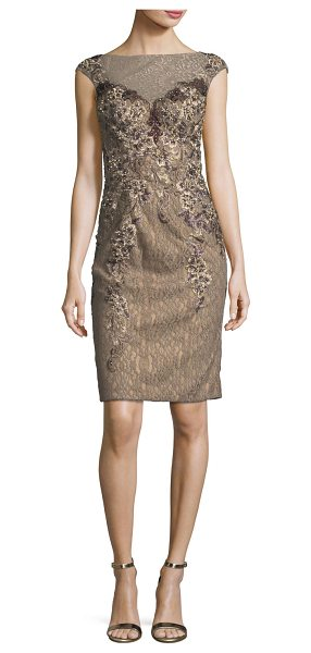 Jovani Embellished Cap-Sleeve Lace Illusion Dress in brown - EXCLUSIVELY AT NEIMAN MARCUS Jovani embellished lace...