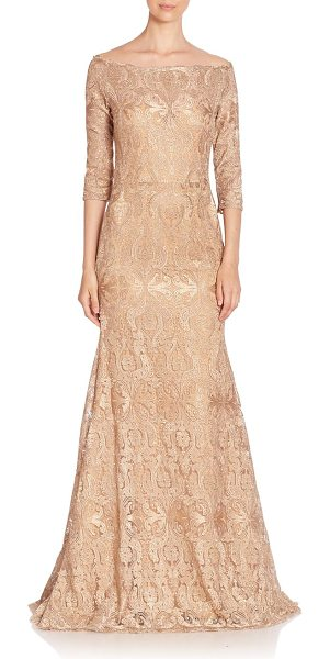 Jovani fit-&-flare embroidered gown in gold - Beautifully embroidered design in flattering shape....
