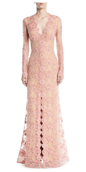 Jovani Long-Sleeve Lace Gown w/ Slit Front in blush - EXCLUSIVELY AT NEIMAN MARCUS Jovani gown with lace...