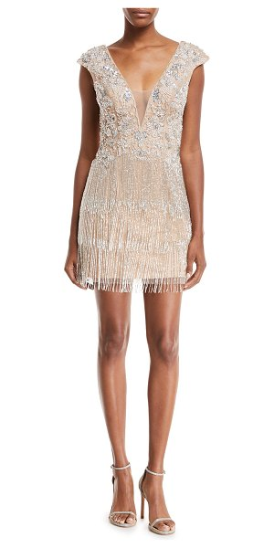 b5cde5113479 Jovani Metallic V-Neck Illusion Dress w/ Fringe Skirt in champagne -  EXCLUSIVELY AT
