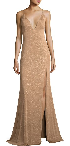 Jovani Metallic V-Neck Strappy Gown in gold - EXCLUSIVELY AT NEIMAN MARCUS Jovani metallic evening...