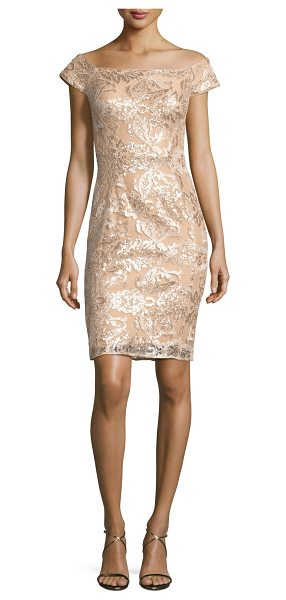 Jovani Off-the-Shoulder Embellished Lace Cocktail Dress in champagne - Jovani mini cocktail dress in embellished lace....