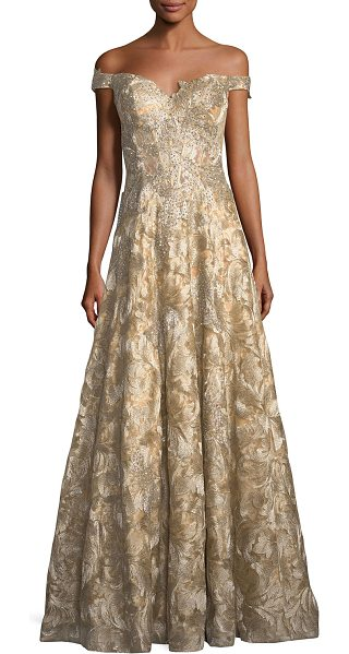 JOVANI Off-the-Shoulder Sweetheart Lace Brocade Evening Gown - Jovani evening gown in floral-brocade lace with beaded...