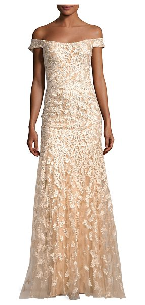 Jovani Off-the-Shoulder Tulle Leaf Gown in gold - Jovani evening gown in tulle with leaf appliqu....