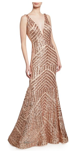 Jovani Sequin Geometric Deep V-Neck Sleeveless Mermaid Gown in pink/gold - EXCLUSIVELY AT NEIMAN MARCUS Jovani sequined geometric...