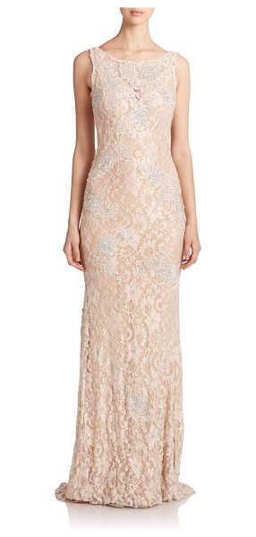 Jovani sequined lace gown in champagne - Sequined lace construction delivers vintage glamour to...