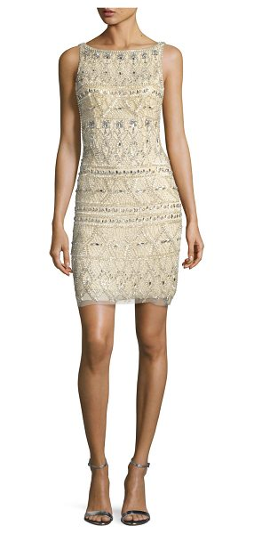 Jovani Sleeveless Beaded Cocktail Dress in nude/silver - Jovani cocktail dress with patterned beading. Bateau...