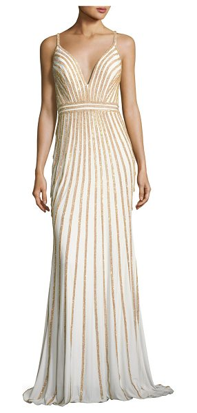 Jovani Sleeveless Beaded Evening Gown in white/gold