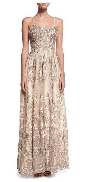 Jovani Sleeveless Embroidered Beaded Lace Gown in cafe - Jovani evening gown with embroidery and beaded...