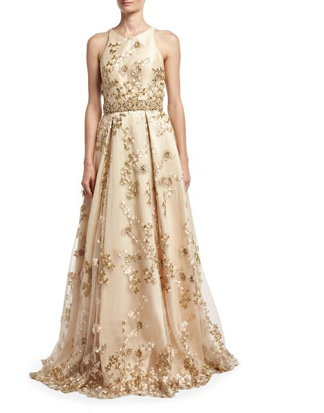 JOVANI Sleeveless Embroidered Cutout-Back Gown - Jovani gown with tulle and floral appliqus. High...