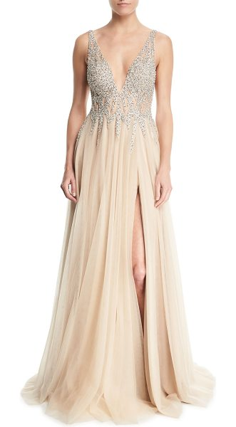 Jovani Sleeveless High Slit Embellished Bodice Evening Gown Nudevotion