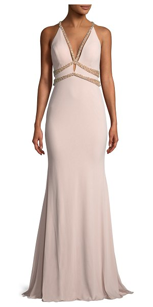 Jovani Sleeveless Jersey Beaded Mermaid Gown in blush - EXCLUSIVELY AT NEIMAN MARCUS Jovani jersey and beaded...