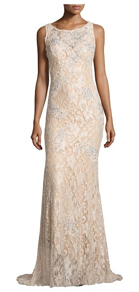 Jovani Sleeveless lace mermaid gown in champagne - Jovani evening gown in beaded floral lace. Boat...