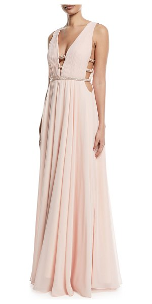 41d14b26d7a1 Jovani Sleeveless V-Neck Gown w/ Lattice Details in blush - EXCLUSIVELY AT  NEIMAN