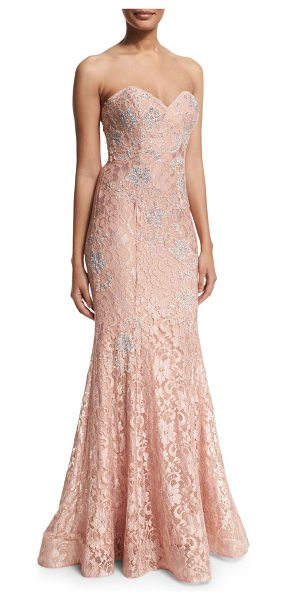 Jovani Strapless lace mermaid gown in blush - Jovani lace evening gown with crystal adornments;...