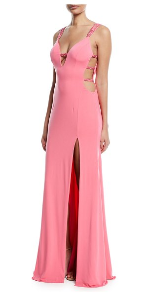 Jovani Strappy Plunging-Neck High-Slit Gown in candy pink - EXCLUSIVELY AT NEIMAN MARCUS Jovani strappy gown. Deep V...