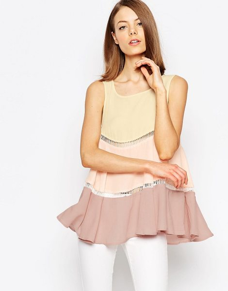 Jovonna Illusion tiered top in blush - Top by Jovonna Semi-sheer chiffon Round neckline Sheer...