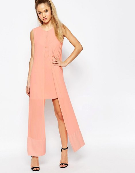 Jovonna What For Dress With Chiffon Overlay in pink - Evening dress by Jovonna, Lightweight woven fabric,...