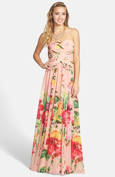 JS Boutique floral print chiffon strapless gown in blush/ coral multi - Subtle gathers crisscross the bodice and waist, lending...