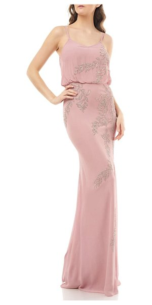 JS Collections beaded blouson mermaid gown in pink