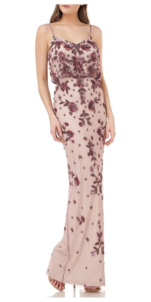 JS Collections beaded blouson gown in pink