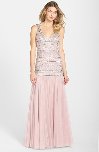 JS Collections beaded mesh drop waist v-neck gown in mauve