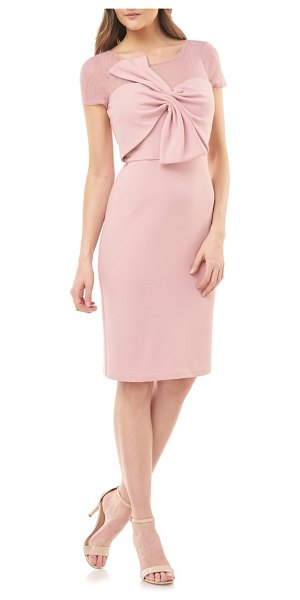 JS Collections bow stretch crepe cocktail dress in pink