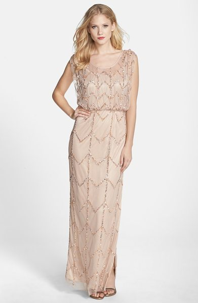 JS Collections chevron beaded blouson gown in blush - Chevron lines of iridescent, metallic beads and sequins...