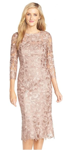 JS Collections cutout lace sheath midi dress in cafe - Beautiful navy lace overlays a sophisticated sheath...
