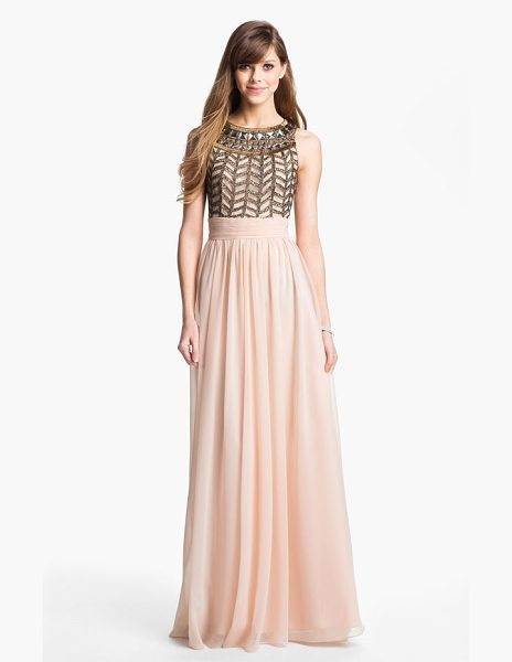 JS Collections embellished chiffon gown in rose - Ornate beadwork crowns the rounded neckline of a...