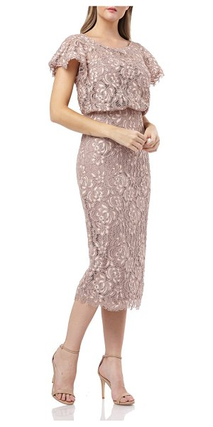 JS Collections embroidered lace blouson cocktail dress in pink