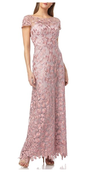 JS Collections embroidered lace gown in pink