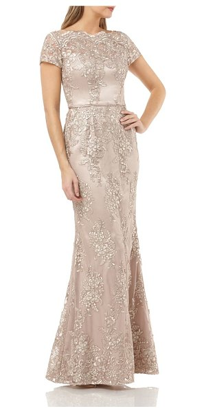 JS Collections embroidered mermaid gown in beige