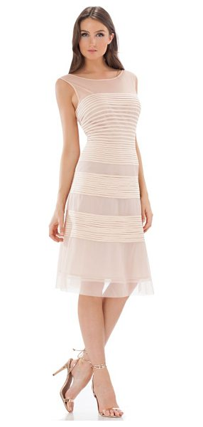JS COLLECTIONS fit & flare dress - Banded appliques encircle this wispy cocktail dress...