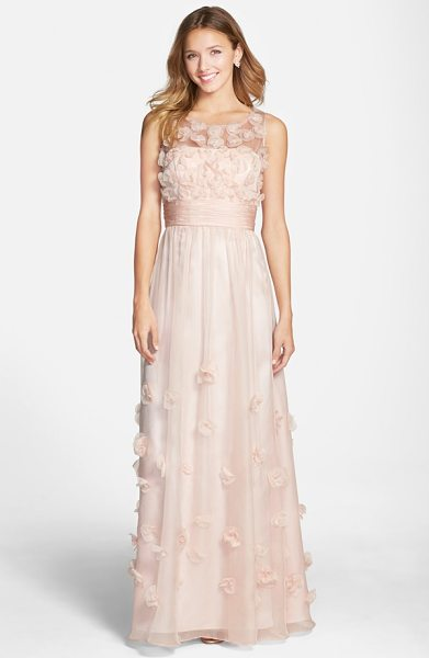JS Collections floral applique chiffon gown in blush - Delicate floral appliques bloom against the...