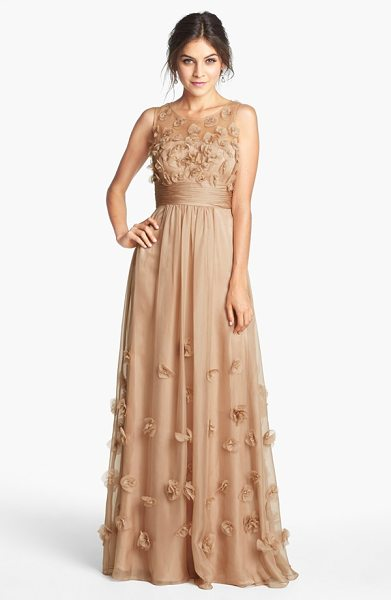 JS Collections floral applique chiffon gown in champagne - Delicate floral appliques bloom against the...