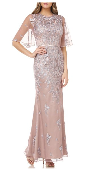 JS Collections floral embroidered evening gown in beige