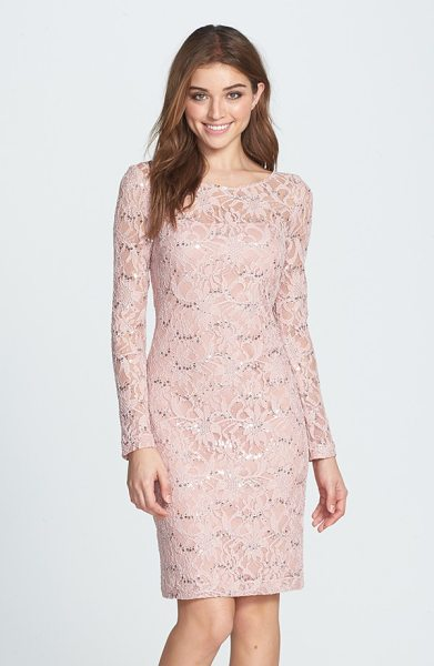 JS Collections illusion lace dress in blush/ nude - Shining sequins accent the flowery lace overlaying a...
